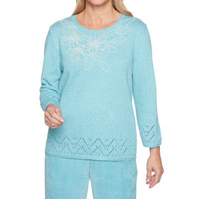 Alfred Dunner Simply Irresistable Womens Round Neck Long Sleeve Pullover Sweater
