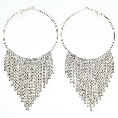 Bijoux Bar Clear 4 Inch Hoop Earrings