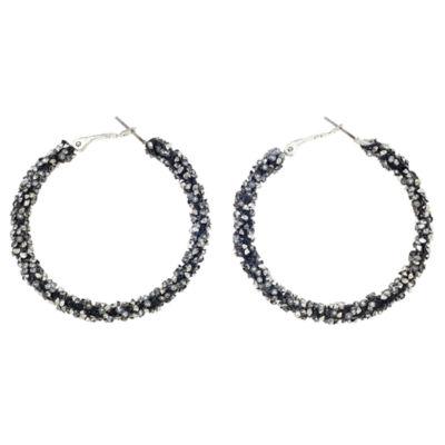 Bijoux Bar Gray 2 Inch Hoop Earrings