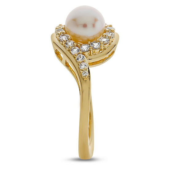 93742743697c1 Womens 6.5MM White Cultured Freshwater Pearl 14K Gold Over Silver Cocktail  Ring
