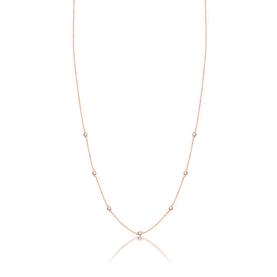 Womens 1/4 CT. T.W. Genuine Diamond 10K Rose Gold Strand Necklace