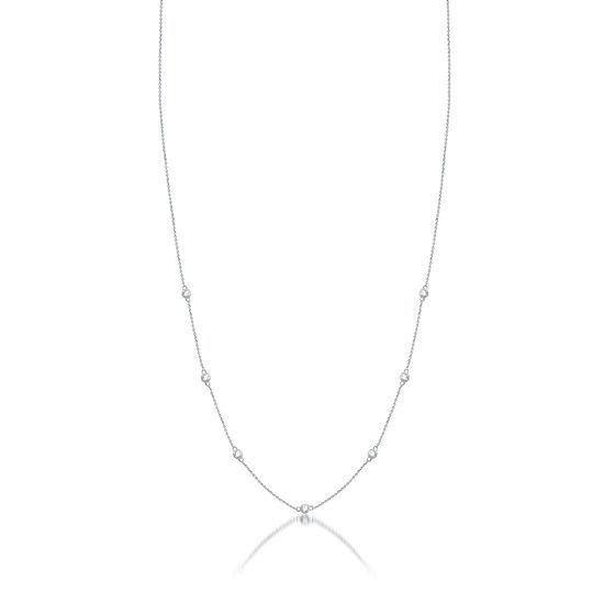 Womens 1/4 CT. T.W. Genuine Diamond 10K White Gold Strand Necklace