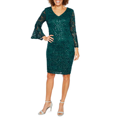 Ronni Nicole 3/4 Bell Sleeve Sequin Lace Shift Dress