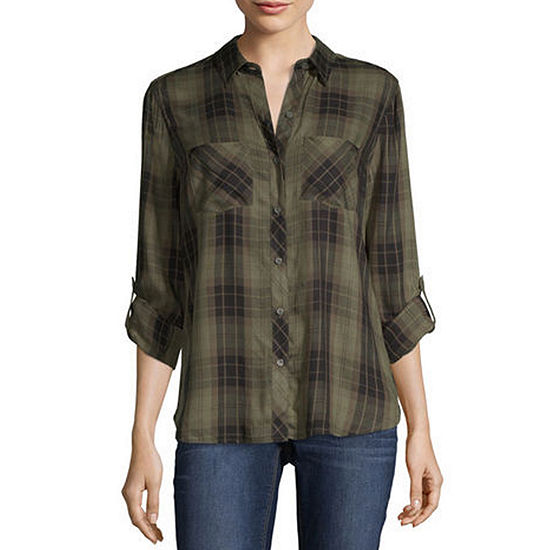 a.n.a Womens Long Sleeve Modern Fit Button-Front Shirt