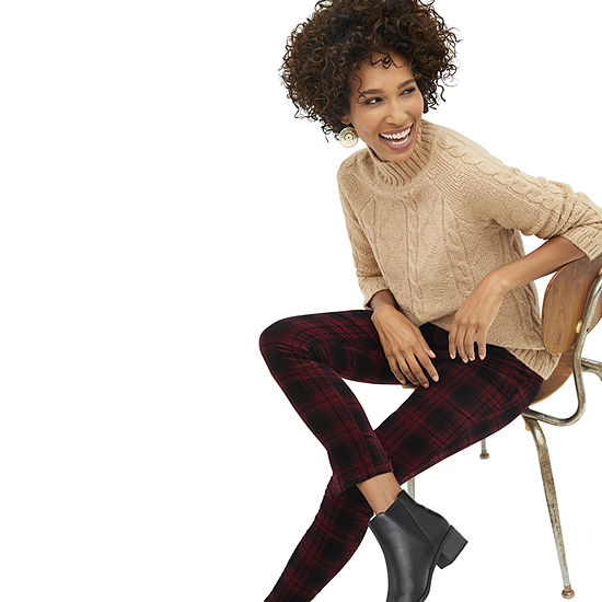 Shop the Look: St. John's Bay Cable Knit Tunic with Burgundy Plaid Corduroy Pants