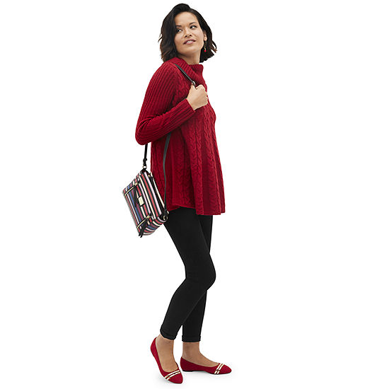 Shop the Look: St. John's Bay Tunic Sweater in Red and Legging with Crossbody