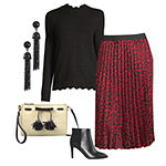 thebeautybeau's Faves: Mock Neck Sweater & Leopard Pleated Midi Skirt