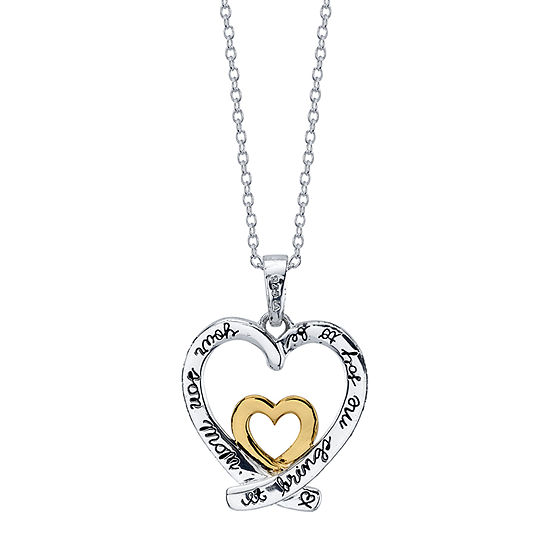 Footnotes Sterling Silver 16 Inch Link Heart Pendant