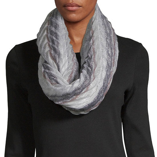 Mixit Pleated Stripe Infinity Scarf