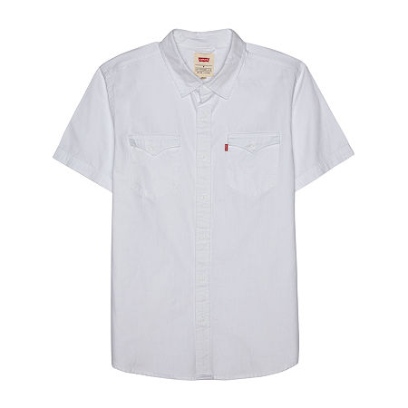 Levi's Short Sleeve Denim Mens Short Sleeve Button-Down Shirt, X-large , White