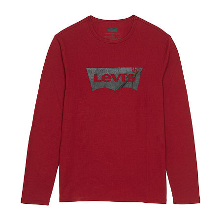 Levi's Easton Mens Crew Neck Long Sleeve Thermal Top, Medium , Red
