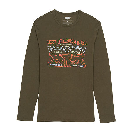 Levi's Easton Mens Crew Neck Long Sleeve Thermal Top, Large , Green