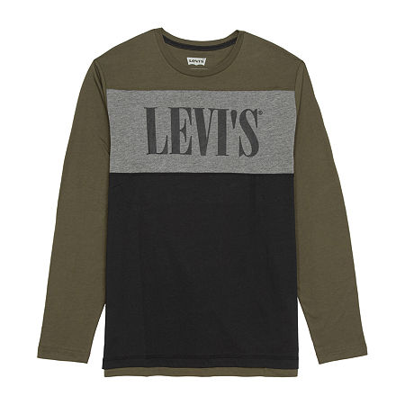 Levi's Mens Crew Neck Long Sleeve T-Shirt, Medium , Green