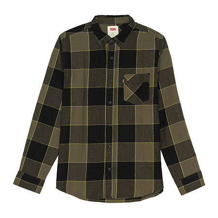 Levi's Flannels Mens Long Sleeve Flannel Shirt, Small , Green