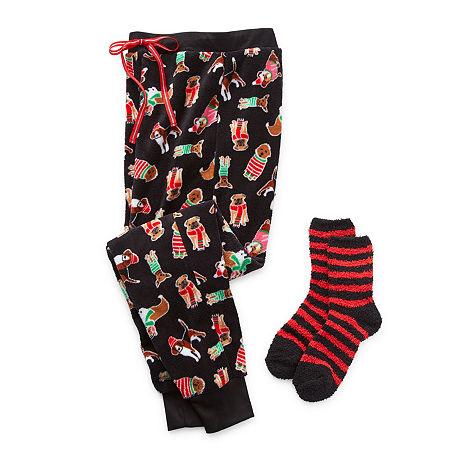 Rene Rofe Cozy Toesie Jogger Womens Pajama Pants, Large , Black