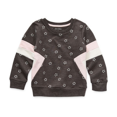 Okie Dokie Little Girls Round Neck Long Sleeve Sweatshirt