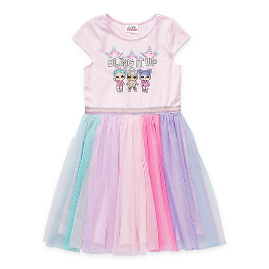 LOL Surprise! Little & Big Girls Short Sleeve Cap Sleeve LOL Tutu Dress