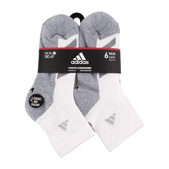 adidas Big Boys 6 Pair Quarter Socks