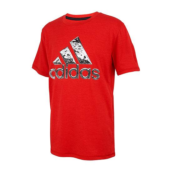 adidas Big Boys Crew Neck Short Sleeve Graphic T-Shirt