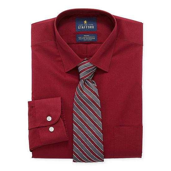 Stafford Mens Spread Collar Long Sleeve Stretch Dress Shirt
