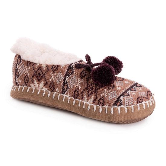 Muk Luks Pom Womens Ballerina Slippers