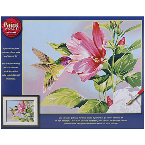 """Paint By Number Kit 14x11""""- Hibiscus Hummingbird"""