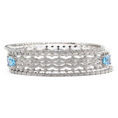 Simulatead Blue Topaz & Diamond-Accent 3-pc. Bangle Bracelet Set