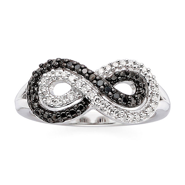 1/5 CT. T.W. White & Color-Enhanced Black Diamond Infinity Ring