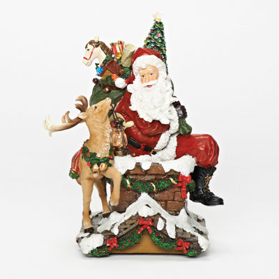 Roman Musical LED Chimney Santa & Deer Figurine