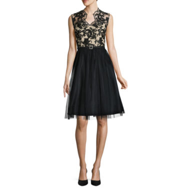 Jackie Jon Sleeveless Embroidered Fit & Flare Dress