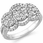 Womens 1 1/4 CT. T.W. Genuine White Diamond 14K Gold Cocktail Ring