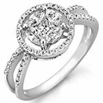 Womens 3/4 CT. T.W. Genuine White Diamond 14K Gold Cocktail Ring