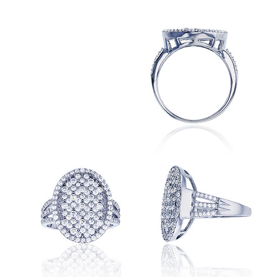Sterling Silver Rhodium Pave Oval Triple Split Shank Ring