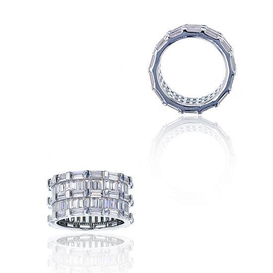 Sterling Silver Baguette-Cut Cubic Zirconia Eternity Ring