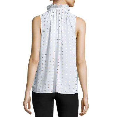 Worthington Ruffle Neck Tank Top