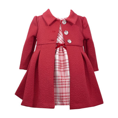 Bonnie Jean Long Sleeve Texture Knit Coat Over Dress Set - Baby Girls