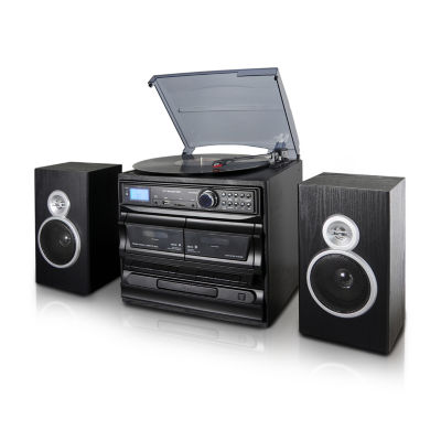Trexonic 3-Speed Turntable With CD Player, Dual Cassette Player, Bluetooth, FM Radio & USB/SD Recording and Wired Shelf Speakers