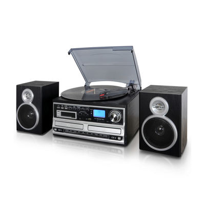 Trexonic 3-Speed Turntable With CD Player, CD Recorder, Cassette Player, Wired Shelf Speakers, FM Radio & CD/USB/SD Recording