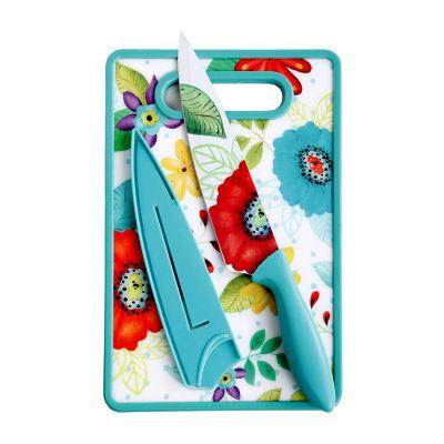 "Jordana 8"" Chef Knife W/Sheath & Cutting Board, Turquoise Floral Pattern"