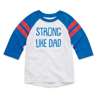 Okie Dokie Boys Crew Neck 3/4 Sleeve Graphic T-Shirt-Toddler