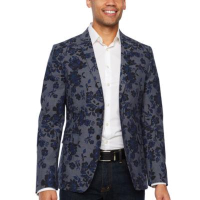 JF J.Ferrar Resort Stretch Blue Black Floral Slim Fit Sport Coat