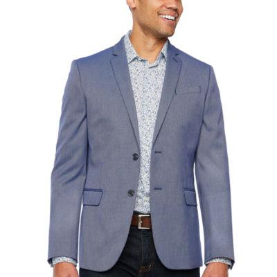 JF J.Ferrar Resort Stretch Bright Blue Slim Fit Sport Coat