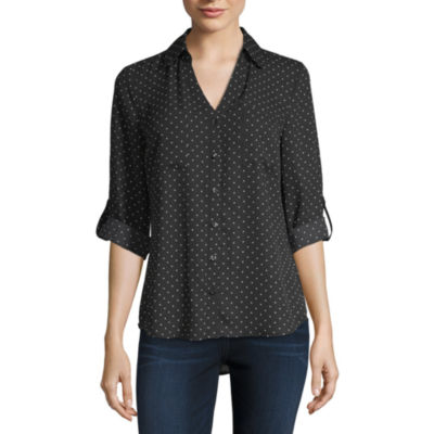 by&by Womens 3/4 Sleeve Relaxed Fit Button-Front Shirt-Juniors