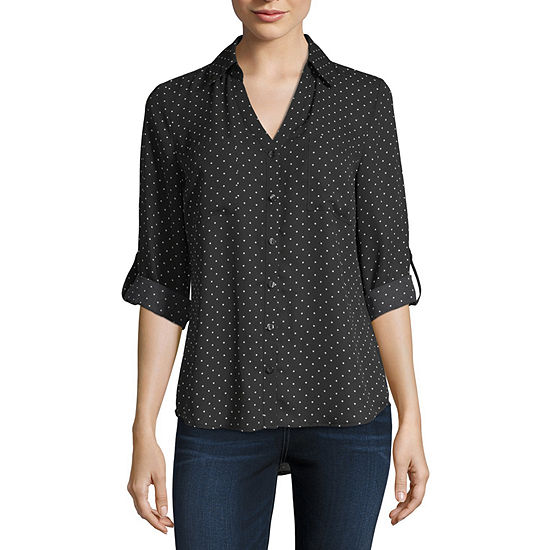 Byby Womens 3 4 Sleeve Relaxed Fit Button Front Shirt Juniors