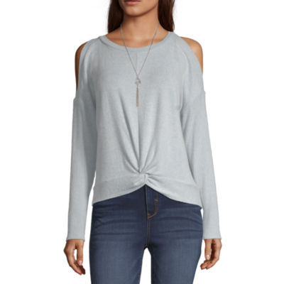 by&by Womens Round Neck Long Sleeve Blouse-Juniors