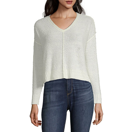 Arizona Womens V Neck Long Sleeve Pullover Sweater-Juniors