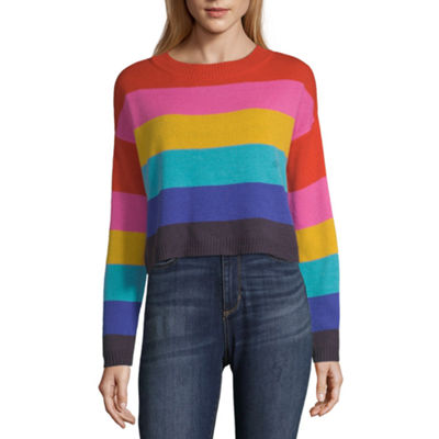 Arizona Womens Round Neck Long Sleeve Striped Pullover Sweater