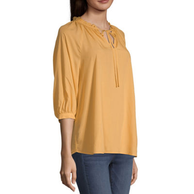 a.n.a Womens Long Sleeve Peasant Top