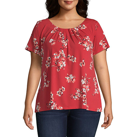 Liz Claiborne Short Sleeve Pleat Neck Tee - Plus