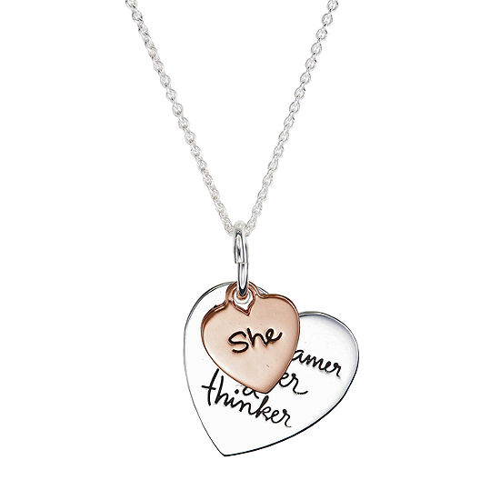 Footnotes She Is A Dreamer A Doer A Thinker Womens Sterling Silver Heart Pendant Necklace